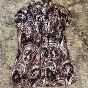 Maurices Collared Purple Design Button-Down Shirt